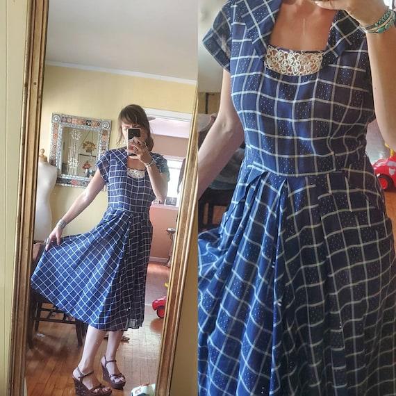 1940s blue plaid dress • small - image 2