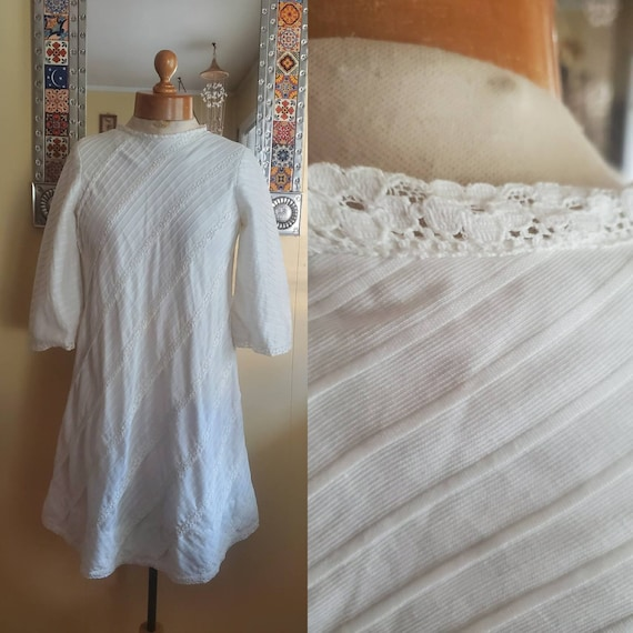 1960s white I MAGNIN mini dress • small