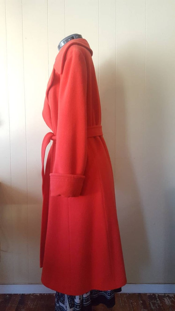 1970s | vintage large woman's overcoat | red | wi… - image 4