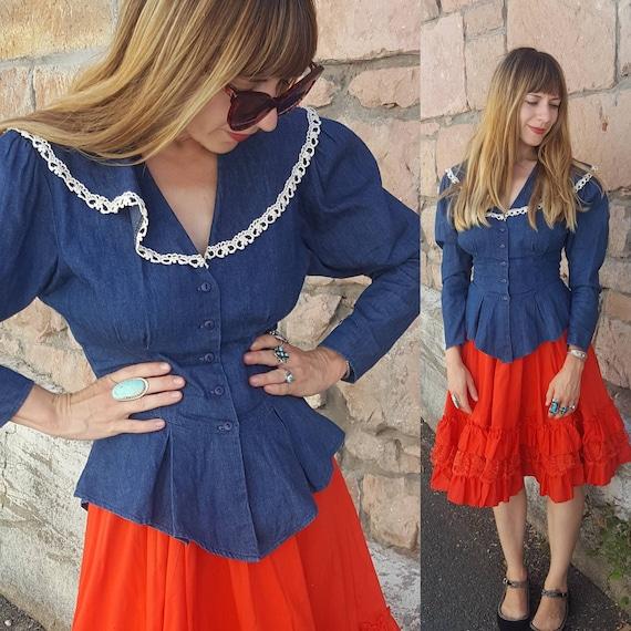 Gunne Sax blue denim blouse with large collar size