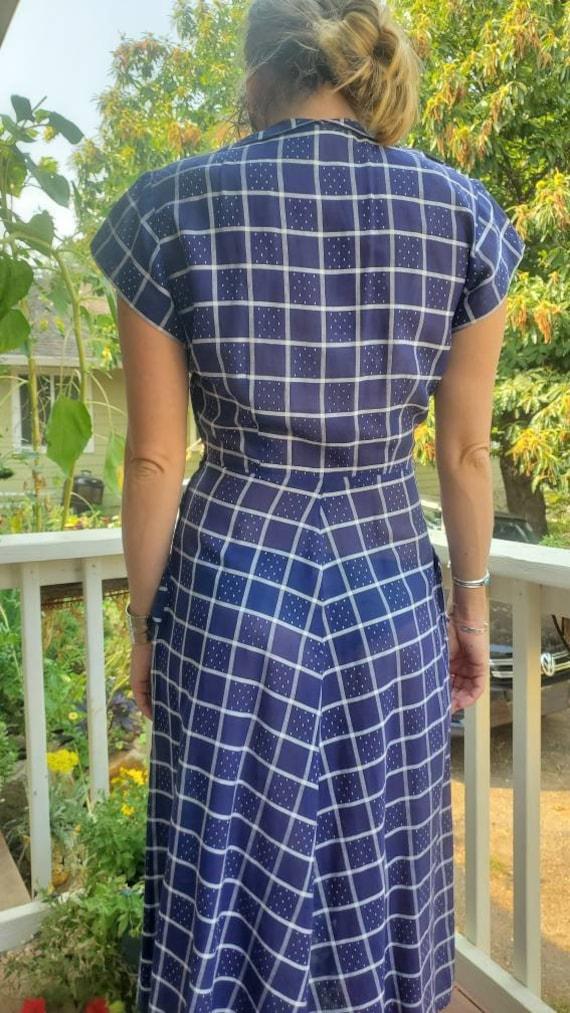 1940s blue plaid dress • small - image 6