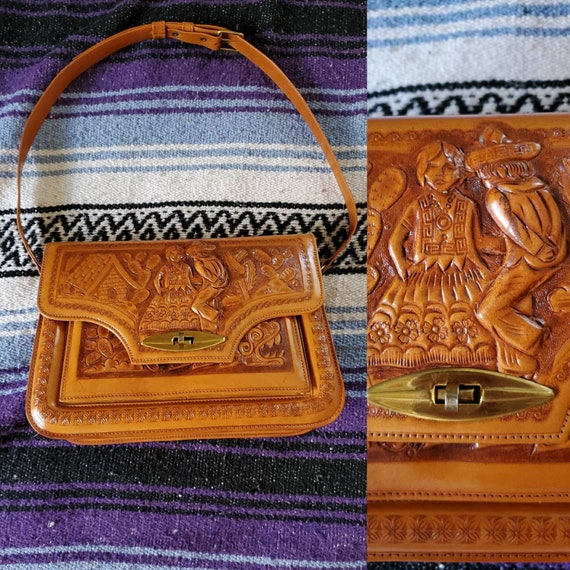 Vintage tooled leather purse Mexican leather purse