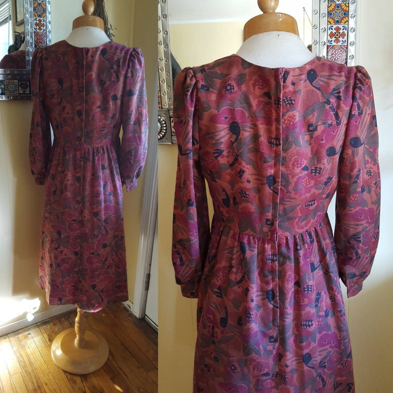 1960s autumn bird dress \u2022 petite small
