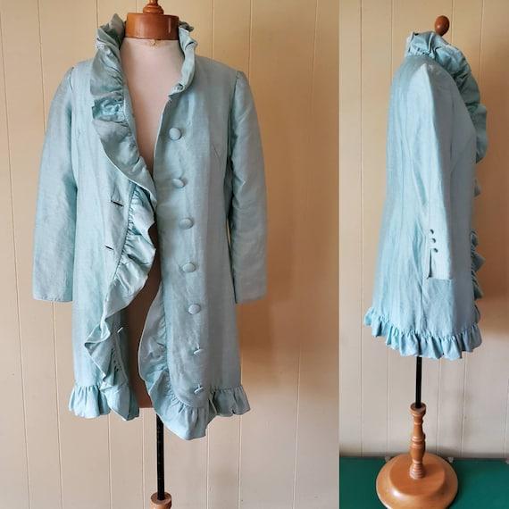 Lilli Ann blue ruffled coat size small