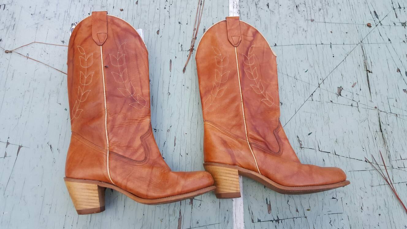 Leaf design 1970s    cuero cuero cuero cowgirl  botas     tamaño 8.5   western 7a47f9