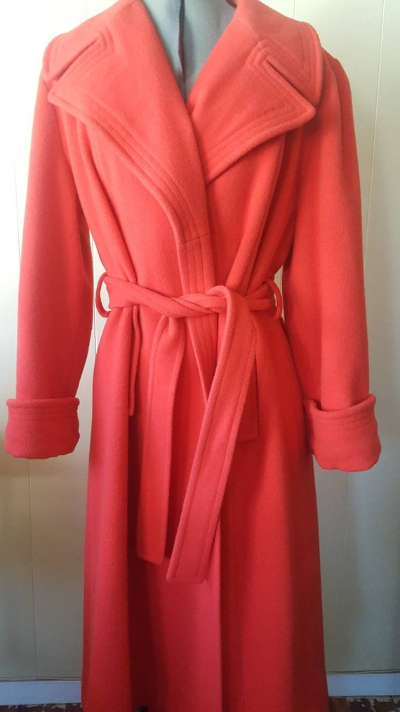 1970s | vintage large woman's overcoat | red | wi… - image 6