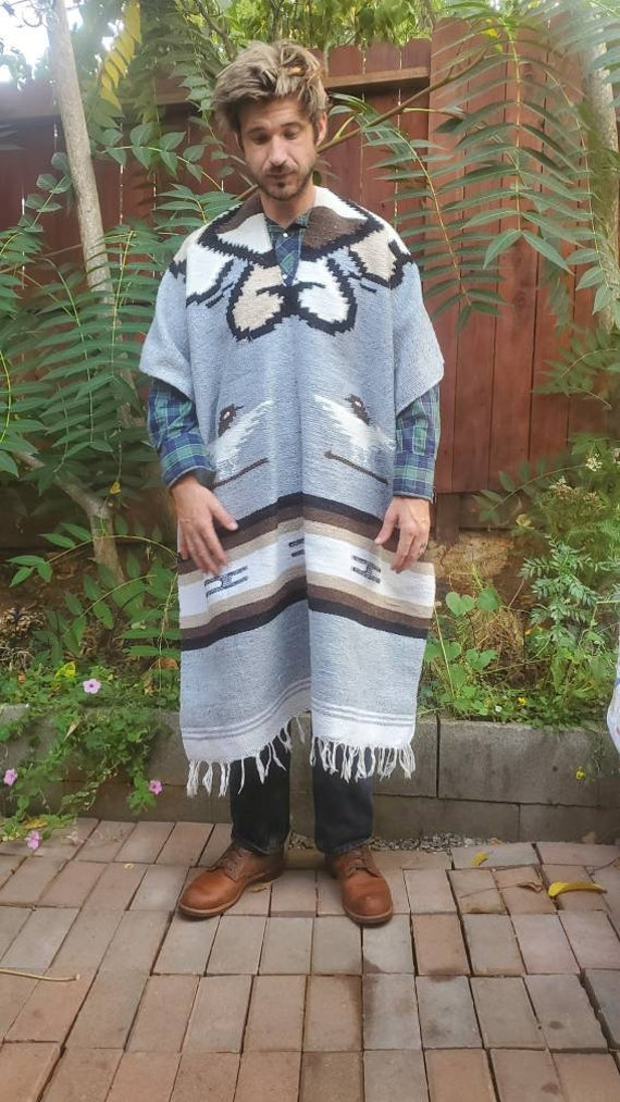 1970s large woven poncho