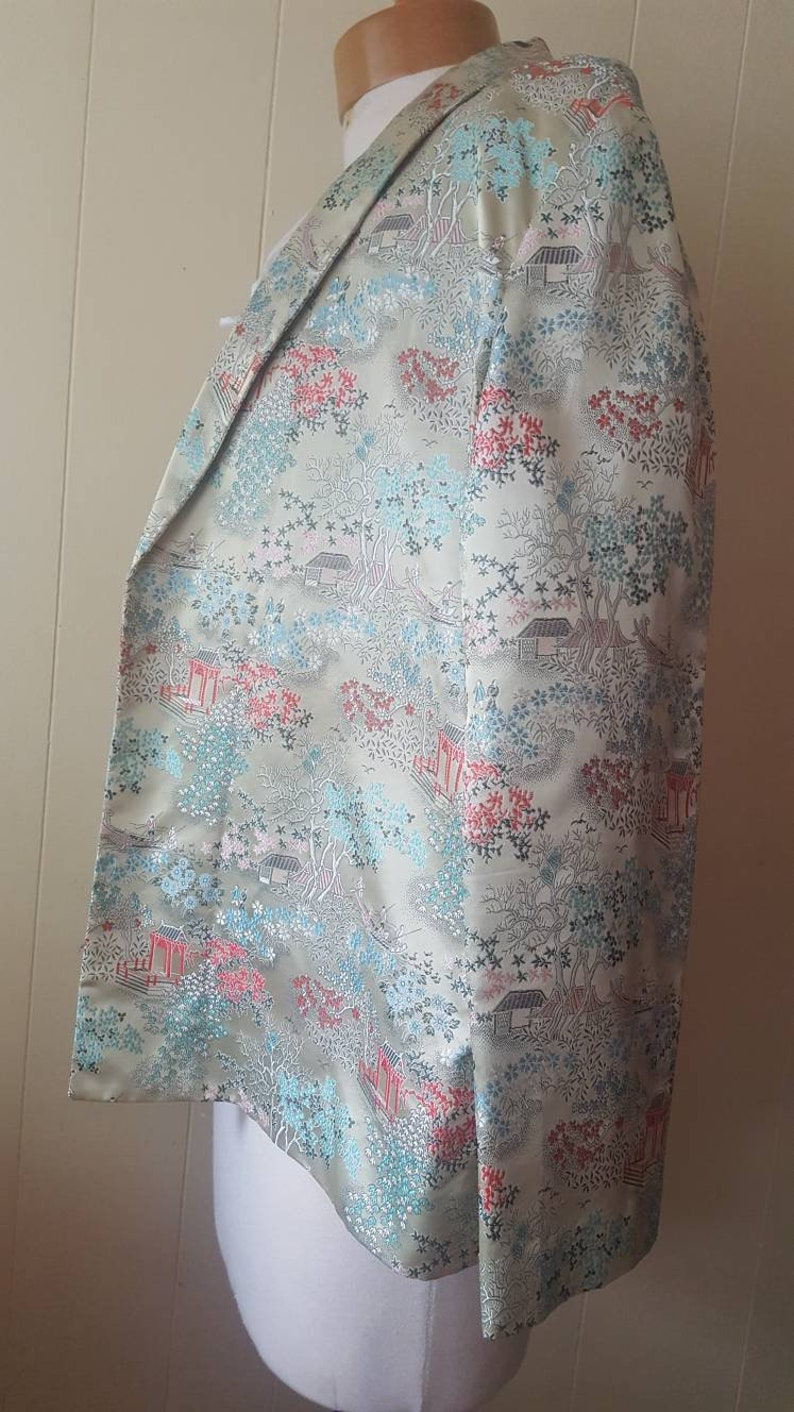 Vintage  silk blazer size Medium cherry blossom yellow coats