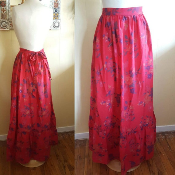 Prairie skirt long red 1970s prairie skirt size sm