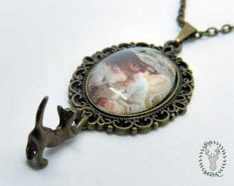 Cat and Lady Necklace - Mori kei, Steampunk & vintage style - Perfect for cat lovers and romantic outfits!
