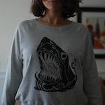 Linocut Shark Print on Triblend Raglan