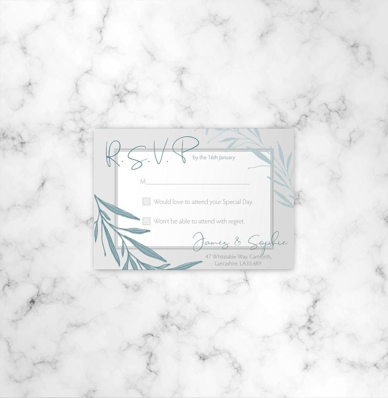 Personalised Wedding Stationery Printed Invite Leaves Wedding RSVP/'s