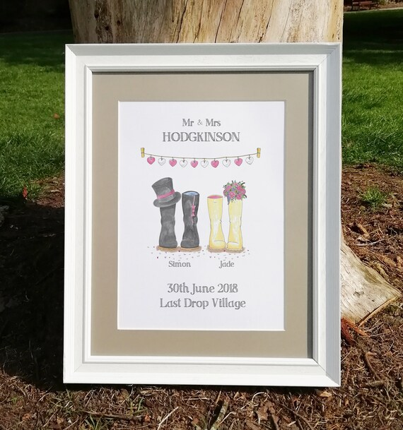 Bride And Groom Festival Wedding PERSONALISED WELLIES Wedding Card