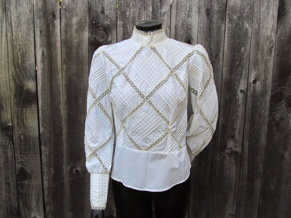 1970's Handmade Pintucked Victorian Style Blouse
