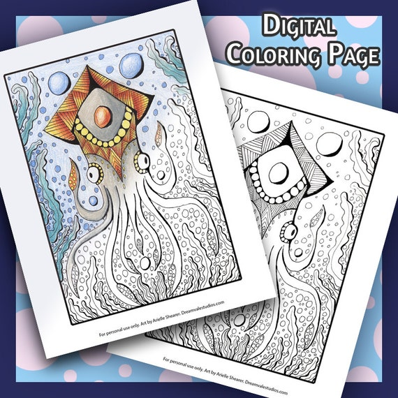 Crowned Squid Coloring Page Instant Printable Adult Etsy
