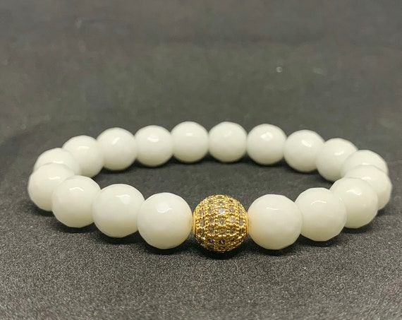 Sizzling White Faceted Jade