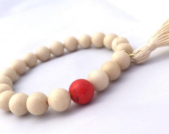 Fossil Beaded Bracelet- Mala Bracelet with Tassel- Wood Bead Bracelet- Fossil Stone Bracelet- Jewlery For Motivation Fathers Day - Unisex