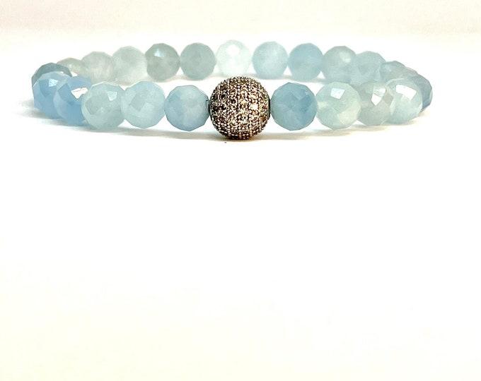 Faceted Aquamarine Gemstone Bracelet- 8mm and 4mm Beaded Bracelet-Stack Bracelet- Calming Soothing Gemstone-  Mothers Day Gift- Gift for Her