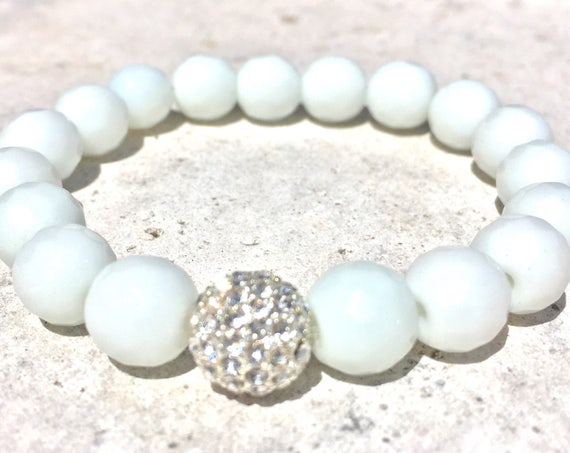 White Faceted Jade Gemstone Bracelet- Beaded Stone Bracelets- Stack Bracelets- Grounding Jewlery- Bridal Shower Gift-  Mothers Day Gift