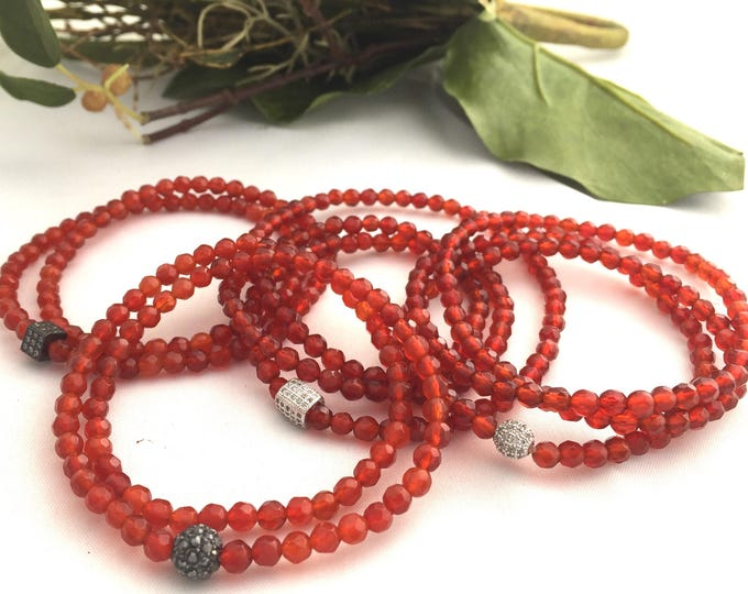 Red Faceted 4mm Agate Stone Wrap Slip on Bracelet- Red Gemstone Bracelet-Beaded Wrap Bracelet- Gift for Her- Holiday Jewelry- Holiday Gift