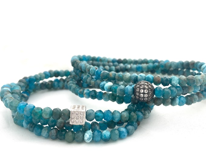 Faceted Apatite Triple Wrap Gemstone Bracelet- A Stone to Promote Manfestation!