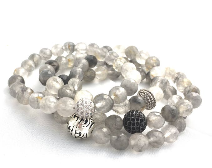 Cloudy Quartz Gray Gemstone Bracelet- Beaded Stone Bracelet- Gray Gemstone Bracelet- Energy Clearing Jewelry- Stack Bracelet- Gift For Her