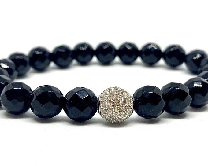Black Agate Bracelet- 8mm  Faceted Agate - Black Beaded Gemstone Bracelet - Stone Bracelet - Stack Bracelet - Gift for Her- Graduation Gift