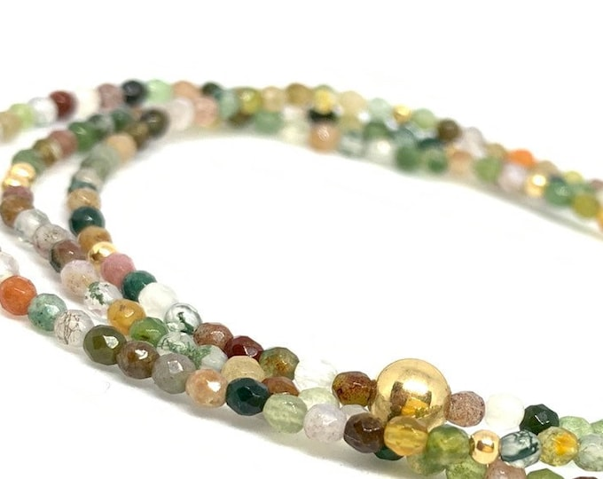 Earth Toned Triple Wrap Indian Agate Gemstone Bracelet with 14k Gold Filled Accent Beads- Green Stone Beaded Bracelet- Girlfriend Gift