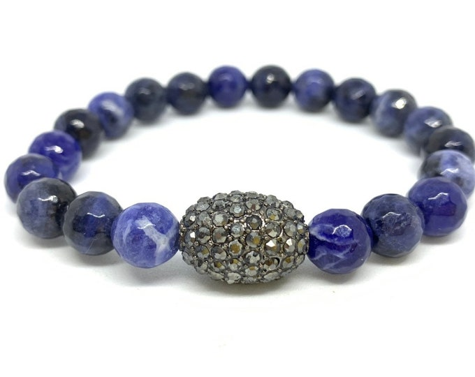 Sodalite Bracelet- Blue Bead Bracelet- Stack Bracelet- Gemstone Beaded Bracelet- Communication Jewelry- Gift for Her- Mothers Day Gift