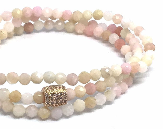 Faceted Pink Opal Gemstone Bracelet Triple Wrap Beaded Bracelet