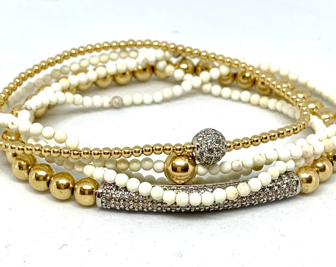 Gorgeous 3 Bracelet Beaded Stack- 14K Gold Filled Stack Bracelets 2mm and 4mm-Triple Wrap Howlite 2mm - Gold Stack-Gemstone bracelet for Her