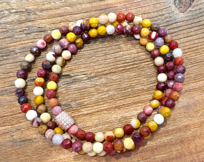 Triple Wrap Mookaite Gemstone Slip on Bracelet~A Stone of Protection