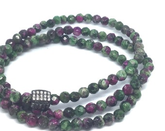 Green and Pink Agate Triple Wrap Bracelet- Grounding!