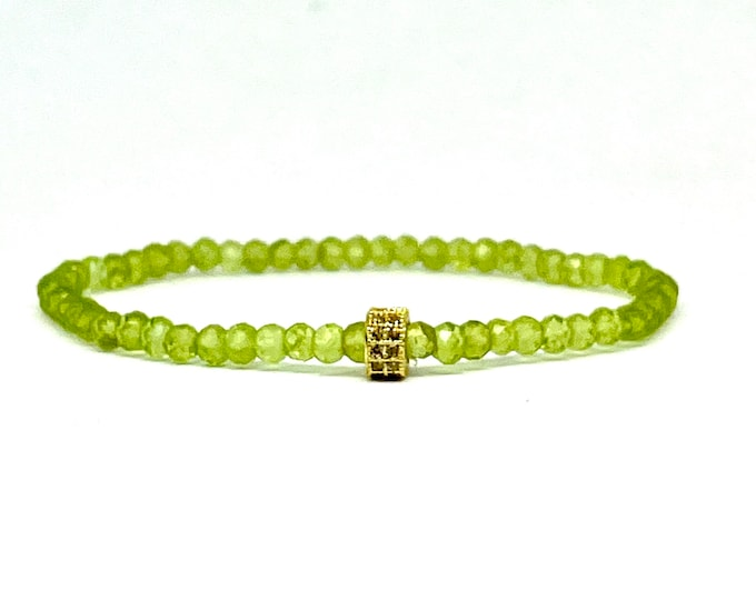 Natural Green Peridot Stack Bracelet- Green Gemstone Bracelet -Stretchy Bracelet- Dainty Gemstone Bracelet - August Birthstone- Gift for Her