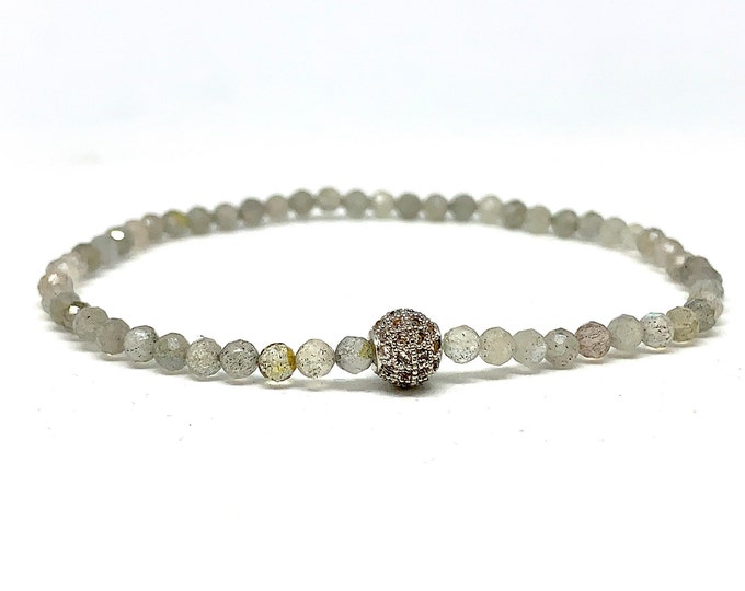 Dainty Gemstone Bracelet -Gray Labradorite 2mm Gemstone Bracelet-Delicate Stack Bracelet-Beaded Stone Bracelet Gift for Her- Girlfriend Gift