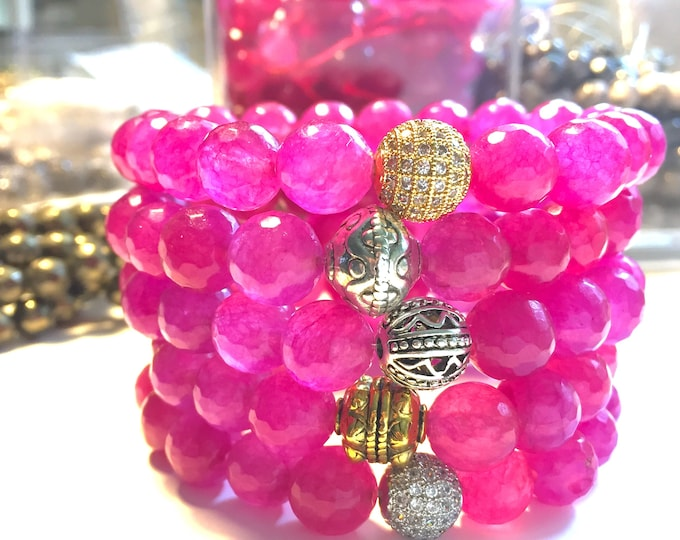 Pink Agate Bracelet- Pink Stone Bracelet- Pink Beaded Bracelet- Stackable Bracelet- Gemstone Bracelet- Graduation Gift- Mothers Day Gift