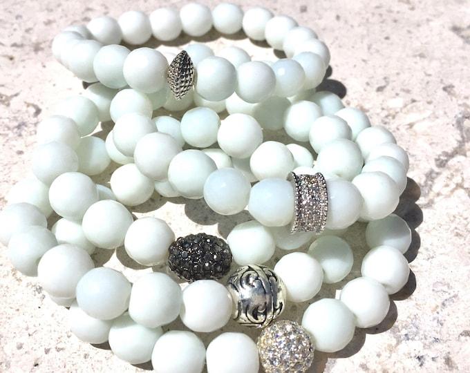 White Faceted Jade Gemstone Bracelet- Beaded Stone Bracelets- Stack Bracelets- Grounding Jewlery- Bridal Shower Gift-  Mothers Day Gift