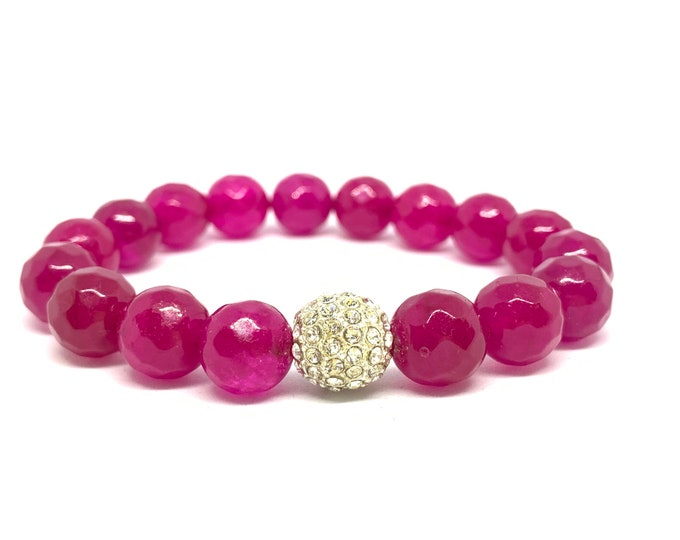 Pink Agate Bracelet- Pink Stone Bracelet- Pink Beaded Bracelet- Stackable Bracelet- Gemstone Bracelet- Graduation Gift- Gift for Her