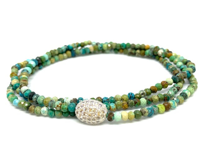 African Turquoise Triple Wrap Gemstone Bracelet- Turquoise Beaded bracelet- Blue and Green Toned Beads - Friendship Jewerly- Gift for Her