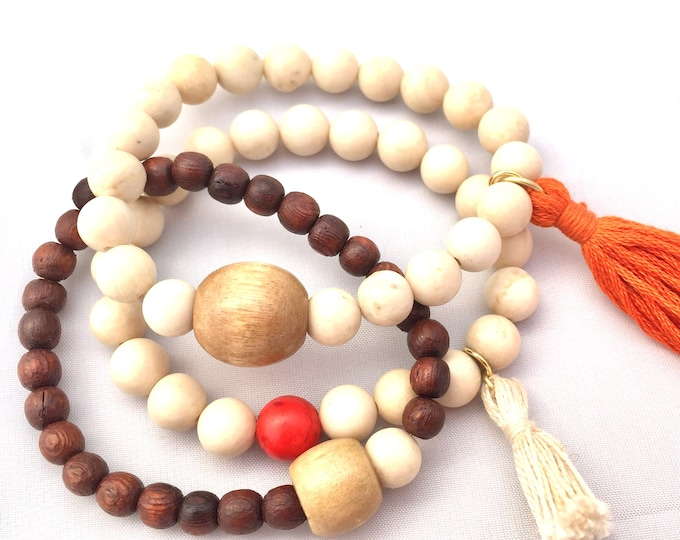 Fossil Beaded Bracelet- Mala Bracelet with Tassel- Wood Bead Bracelet- Fossil Stone Bracelet- Jewlery For Motivation and Business- Unisex