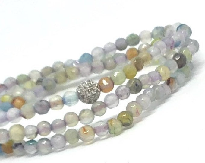 Soft Multi Colored Agate Triple Wrap Bracelet