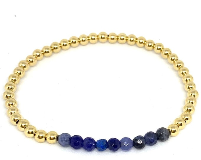 14k Gold Filled Beaded Bracelets with Gorgeous Gemstones