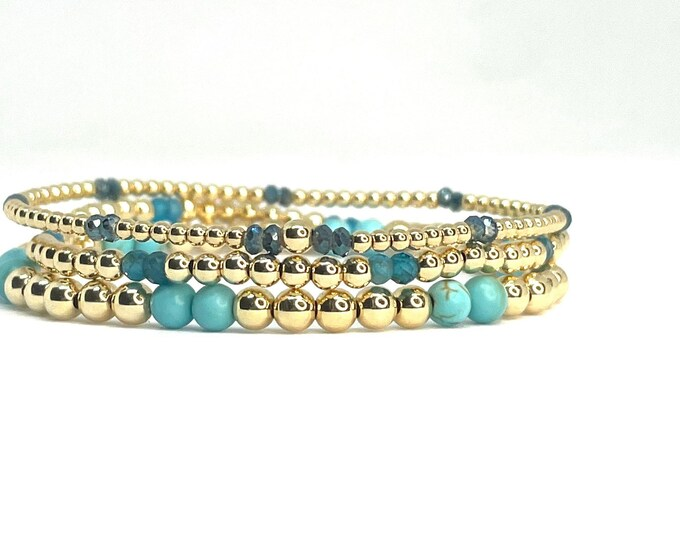 Gold Filled Three bracelet Beaded Bracelet Stack- 2mm, 3mm & 4mm Seamless Gold Beads with Gemstones-Layer Jewelry-Stretch Bracelet Stack