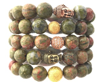 Green Jasper Bracelet- Unakite Jasper Bracelet- Green and Pink Stone Bracelet- Heart Gemstone Bracelet- Unisex Gemstone Bracelet