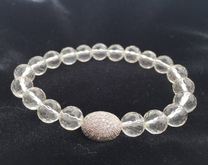 Clear Faceted Quartz Bracelet- Energy Clearing Jewelry- Quartz Beaded Bracelet- Bridal Jewelry- Bridesmaid Gift- Mothers Day Gift