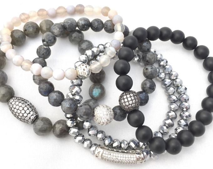 Labradorite Gemstone Bracelet - Grey Stone Bracelet - 8mm Black Matte Stone Bracelet - Womens Gemstone Stack Bracelets - Mothers Day Gift