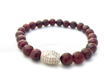 Garnet Beaded Bracelet- 8mm Faceted Garnet- Stack Bracelet- Garnet Gemstone Bracelet- January Birthstone- Gift for Her and Him- Mothers Day