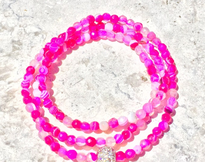Pink Agate Bracelet- Pink Stone Bracelet- Pink Beaded Bracelet- Stackable Bracelet- Gemstone Bracelet- Mothers Day Gift- Bridal Shower Favor