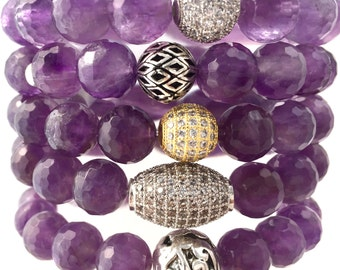 Healing Amethyst Bracelet Supporting Stress Reduction and Anxiety
