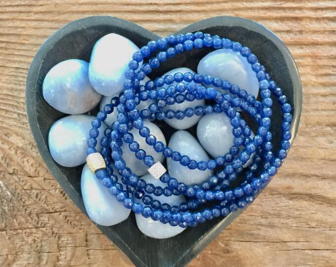 Triple Wrap Navy Blue Agate Bracelet